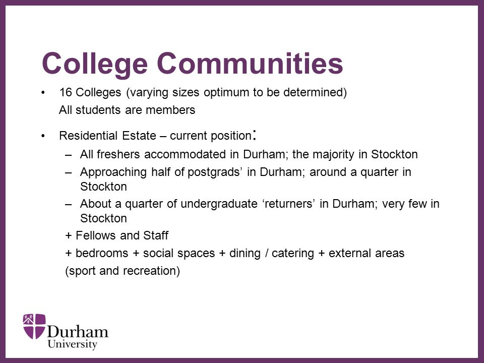 ∂ College Communities 16 Colleges (varying sizes optimum to be determined) All students are members Residential Estate – current position : –All freshers accommodated in Durham; the majority in Stockton –Approaching half of postgrads' in Durham; around a quarter in Stockton –About a quarter of undergraduate 'returners' in Durham; very few in Stockton + Fellows and Staff + bedrooms + social spaces + dining / catering + external areas (sport and recreation)