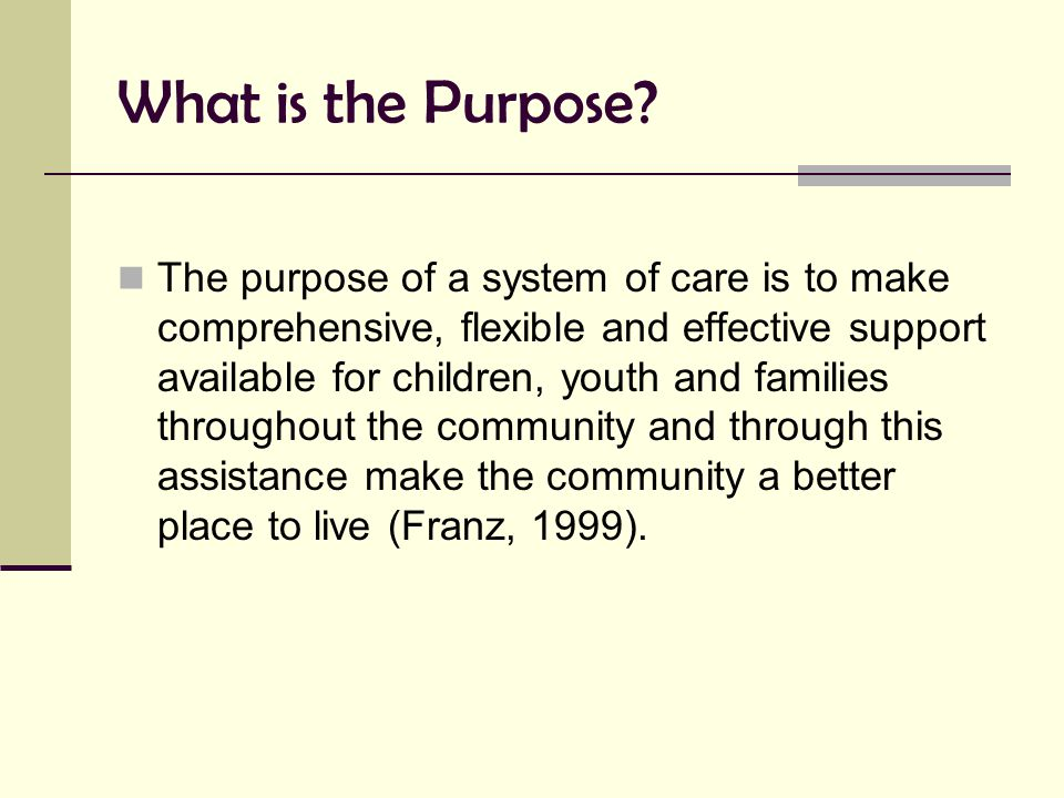 What is the Purpose? The purpose of a system of care is to make comprehensive, flexible and effective support available for children, youth and famili