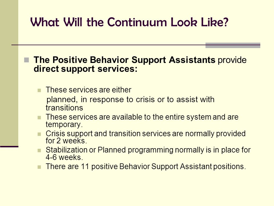 What Will the Continuum Look Like? The Positive Behavior Support Assistants provide direct support services: These services are either planned, in res