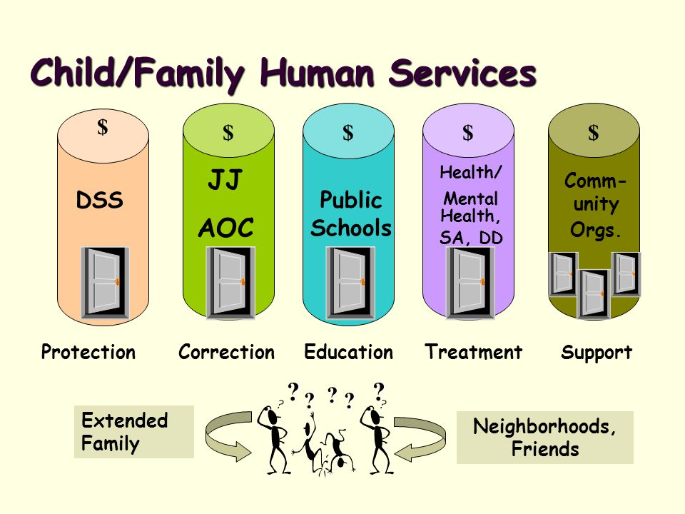 Child/Family Human Services Reform Family Group Conferencing, Multiple Response System DSS Restorative Justice, Comprehensive Strategy, 'Blue Prints' JJ AOC Positive Behavioral Supports (PBIS), Alternative Learning Programs Public Schools Health/ MH,SA, DD MH Reform, Health Choice, Smart Start, MAJORS, Person- Centered Care Comm- unity Orgs.