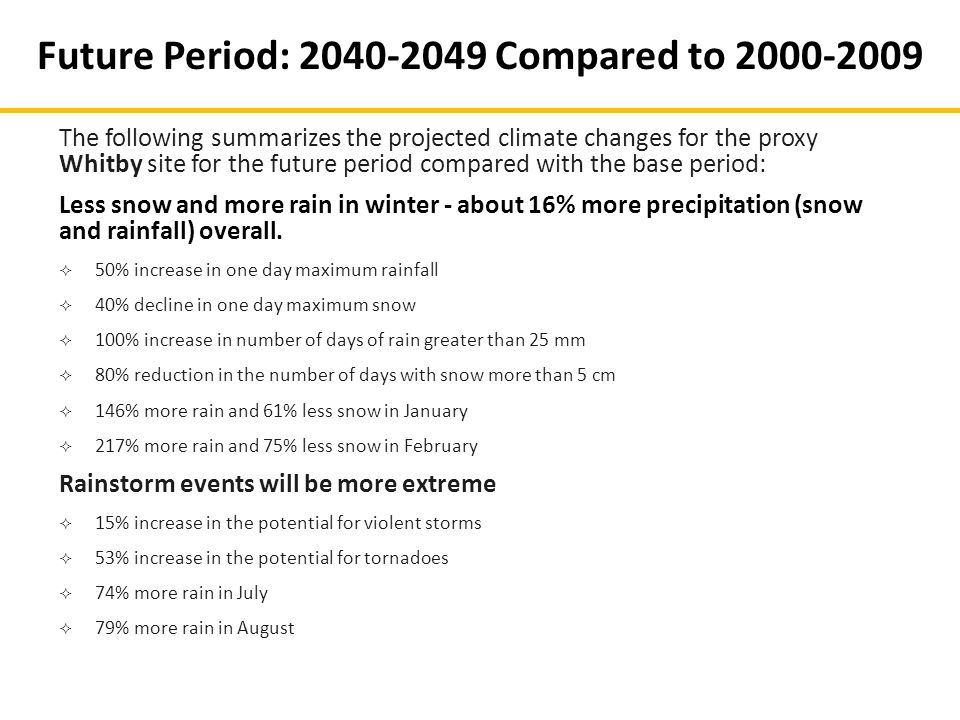 The following summarizes the projected climate changes for the proxy Whitby site for the future period compared with the base period: Less snow and mo