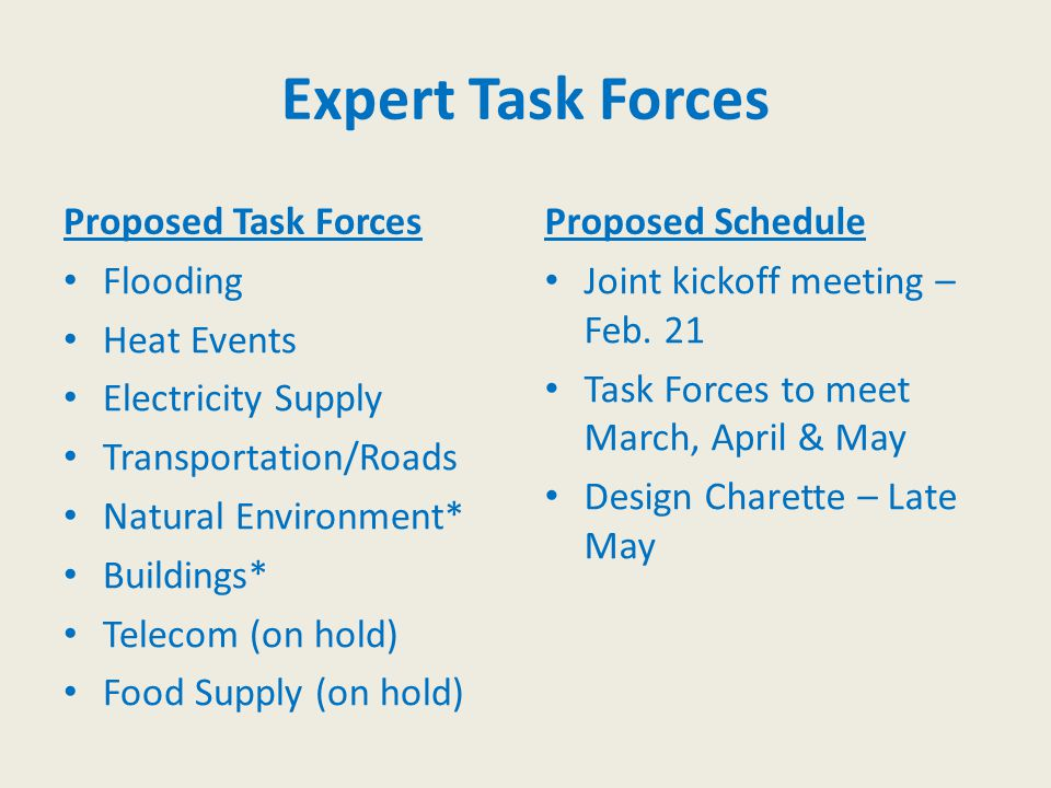 Expert Task Forces Proposed Task Forces Flooding Heat Events Electricity Supply Transportation/Roads Natural Environment* Buildings* Telecom (on hold)