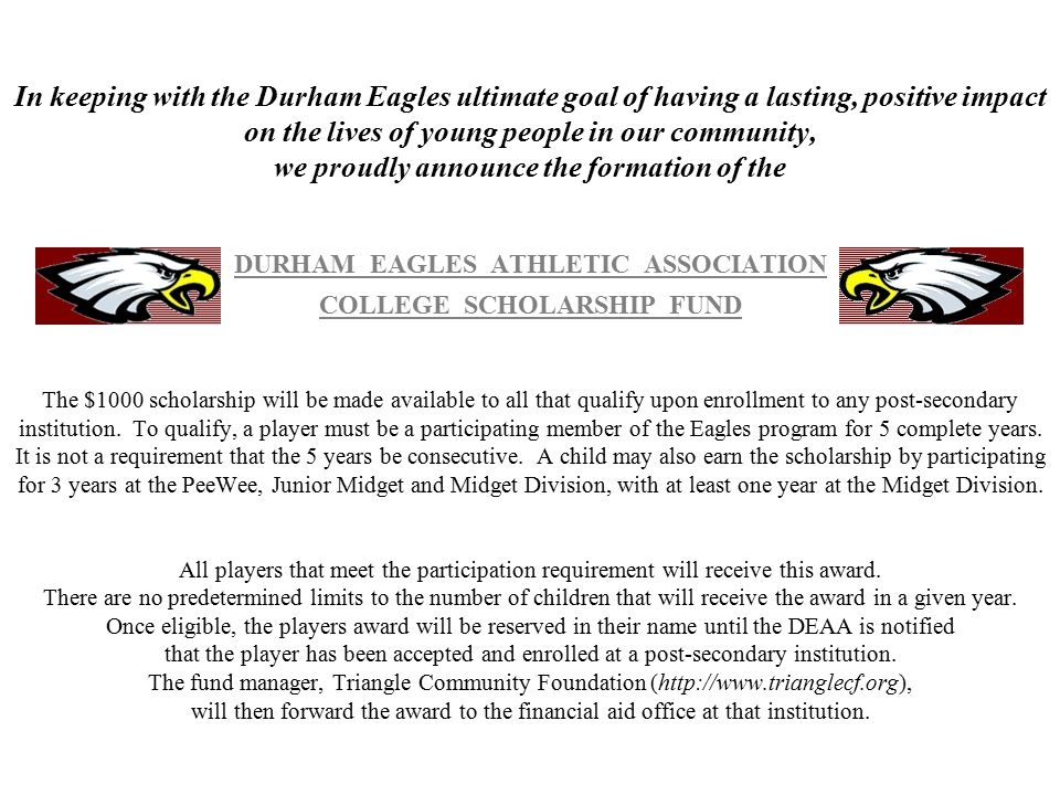 The Durham Eagles Pop Warner youth football organization was founded by Don and Bobetta Jones in 1994.
