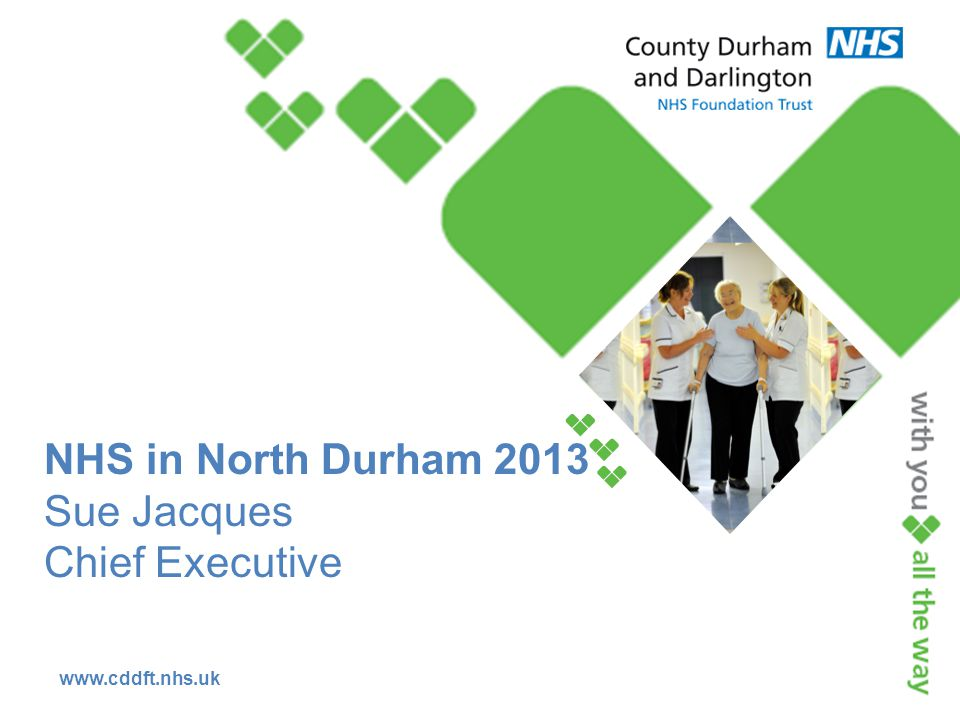 www.cddft.nhs.uk NHS in North Durham 2013 Sue Jacques Chief Executive
