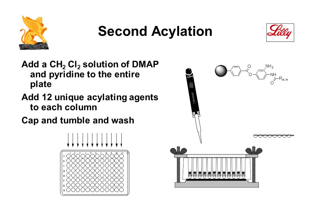 Second Acylation Add a CH 2 Cl 2 solution of DMAP and pyridine to the entire plate Add 12 unique acylating agents to each column Cap and tumble and wash
