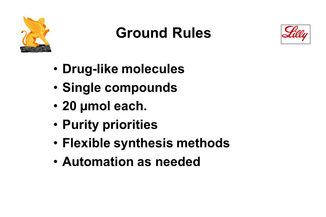 Ground Rules Drug-like molecules Single compounds 20 µmol each.