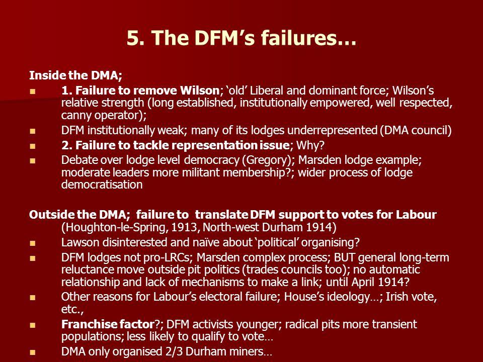 5. The DFM's failures… Inside the DMA; 1.
