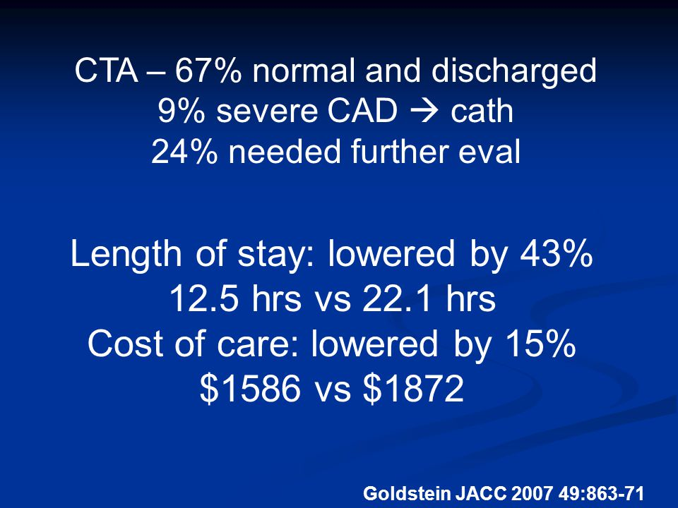 Goldstein JACC 2007 49:863-71 CTA – 67% normal and discharged 9% severe CAD  cath 24% needed further eval Length of stay: lowered by 43% 12.5 hrs vs