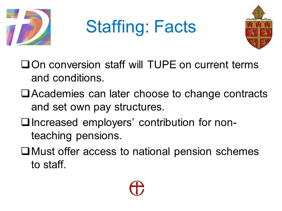 Staffing: Facts  On conversion staff will TUPE on current terms and conditions.