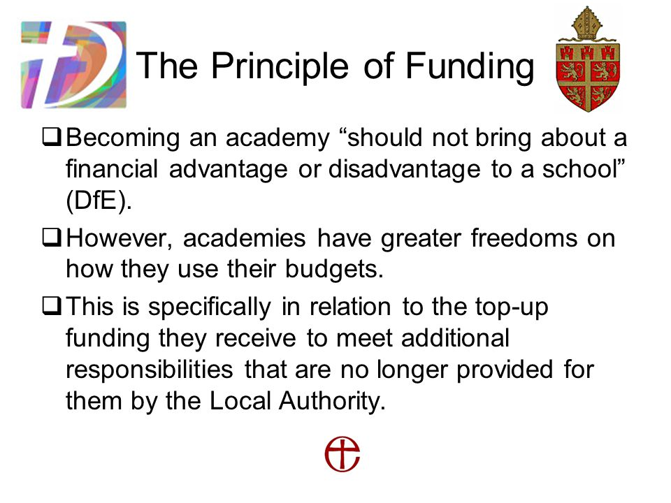 The Principle of Funding  Becoming an academy should not bring about a financial advantage or disadvantage to a school (DfE).