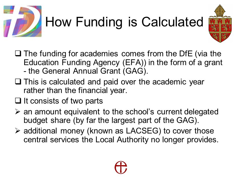 How Funding is Calculated  The funding for academies comes from the DfE (via the Education Funding Agency (EFA)) in the form of a grant - the General Annual Grant (GAG).