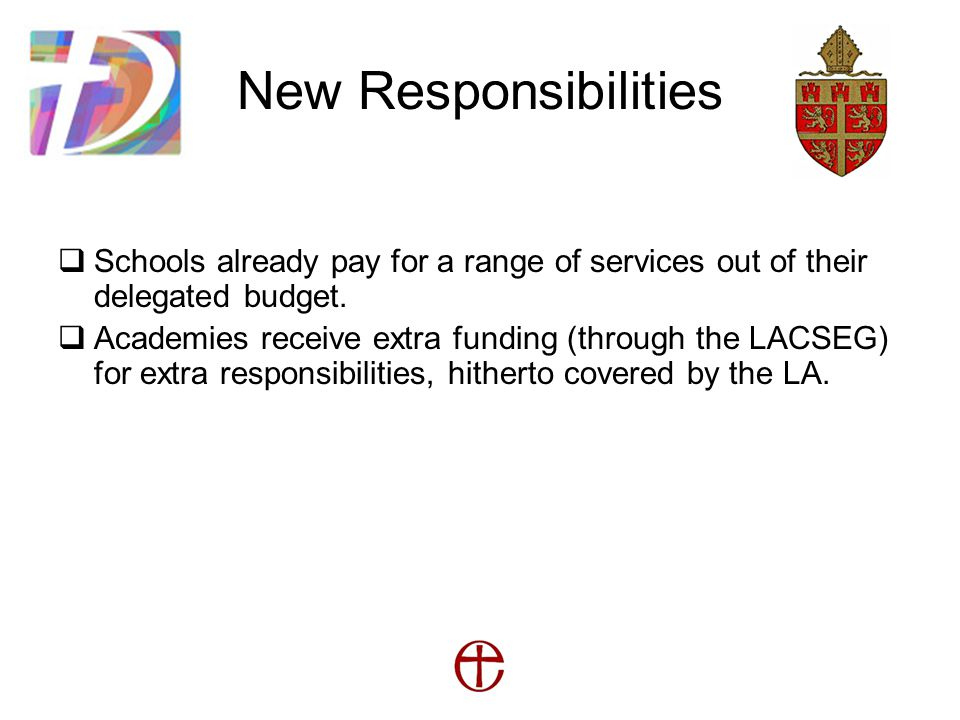 New Responsibilities  Schools already pay for a range of services out of their delegated budget.