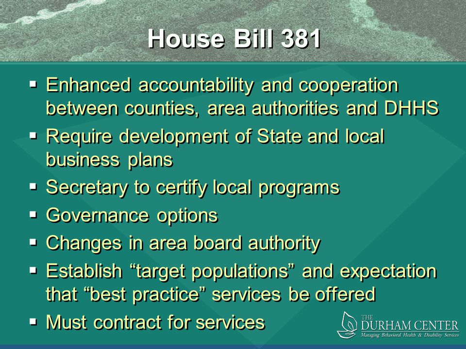 House Bill 381  Enhanced accountability and cooperation between counties, area authorities and DHHS  Require development of State and local business plans  Secretary to certify local programs  Governance options  Changes in area board authority  Establish target populations and expectation that best practice services be offered  Must contract for services  Enhanced accountability and cooperation between counties, area authorities and DHHS  Require development of State and local business plans  Secretary to certify local programs  Governance options  Changes in area board authority  Establish target populations and expectation that best practice services be offered  Must contract for services