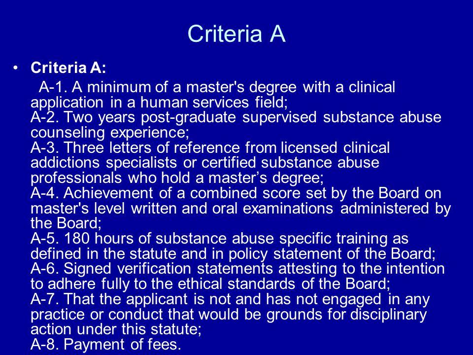 Criteria A Criteria A: A-1.