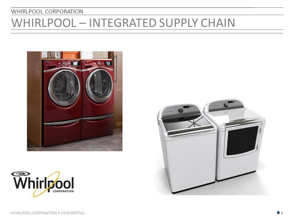 WHIRLPOOL CORPORATION  CONFIDENTIAL WHIRLPOOL – INTEGRATED SUPPLY CHAIN WHIRLPOOL CORPORATION 1