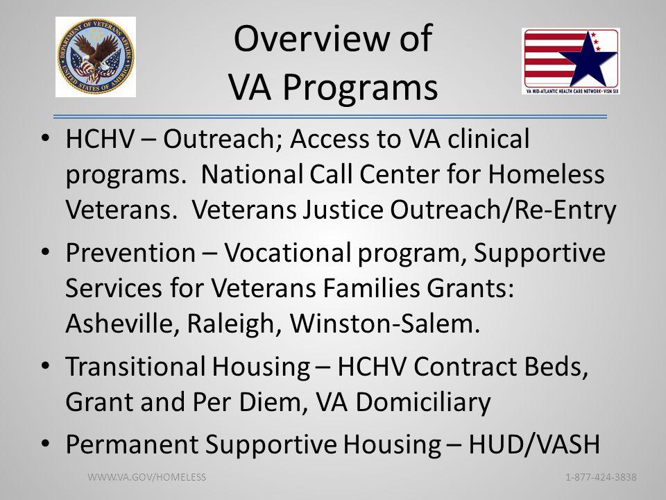 Overview of VA Programs HCHV – Outreach; Access to VA clinical programs. National Call Center for Homeless Veterans. Veterans Justice Outreach/Re-Entr