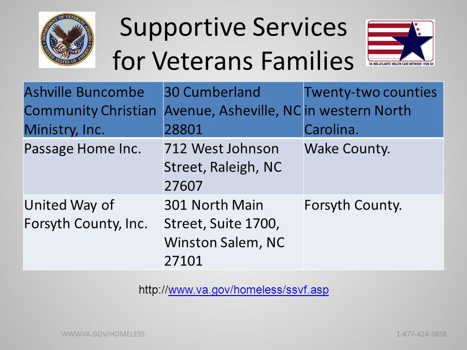 Supportive Services for Veterans Families Ashville Buncombe Community Christian Ministry, Inc. 30 Cumberland Avenue, Asheville, NC 28801 Twenty-two co