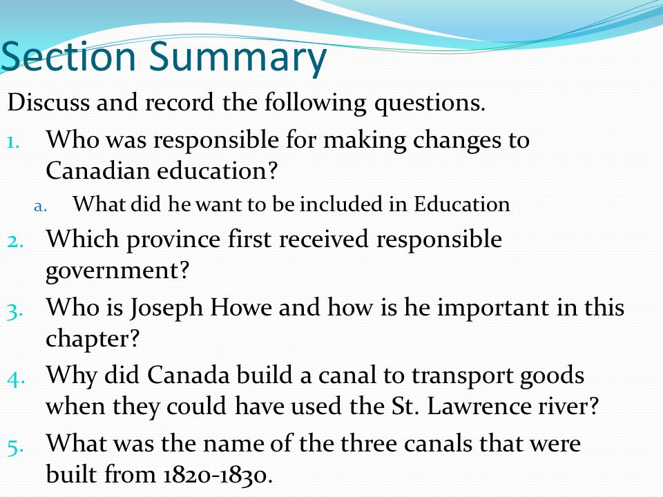 Section Summary Discuss and record the following questions.
