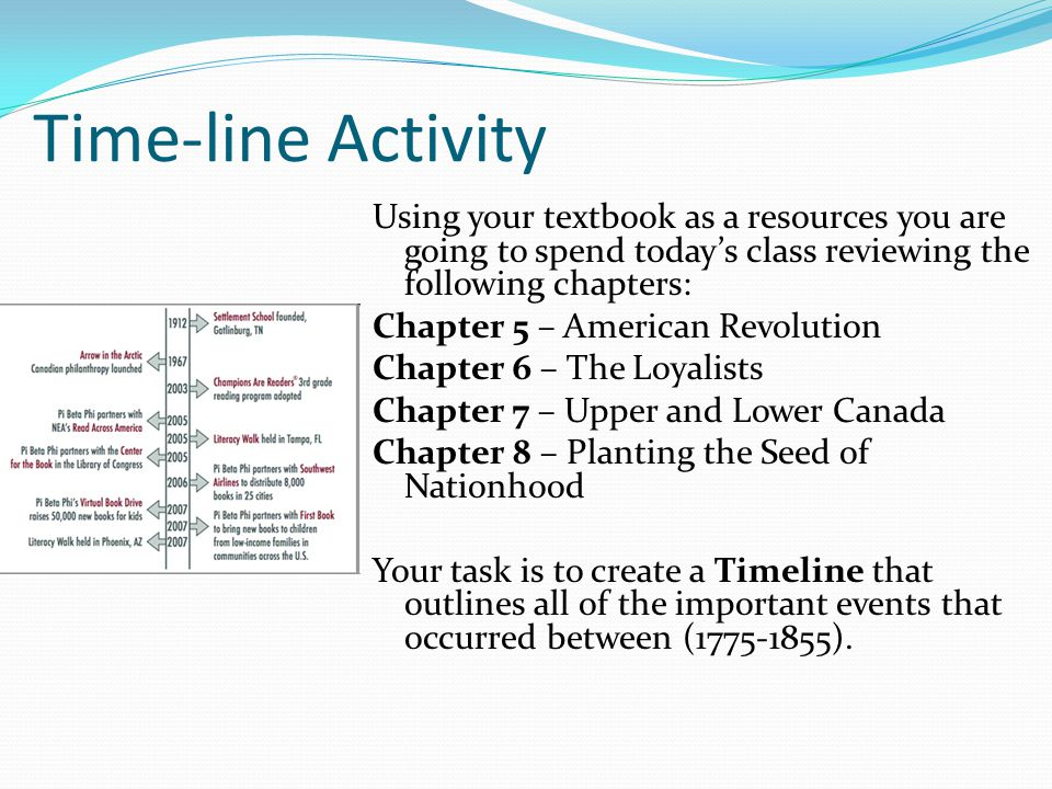 Time-line Activity Using your textbook as a resources you are going to spend today's class reviewing the following chapters: Chapter 5 – American Revolution Chapter 6 – The Loyalists Chapter 7 – Upper and Lower Canada Chapter 8 – Planting the Seed of Nationhood Your task is to create a Timeline that outlines all of the important events that occurred between (1775-1855).