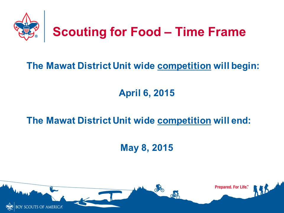 Scouting for Food - Competition The Mawat District Unit that collects the most food, by weight, will receive a $100.00 gift card, redeemable at the Occoneechee Scout Store The Patrol/Den etc.