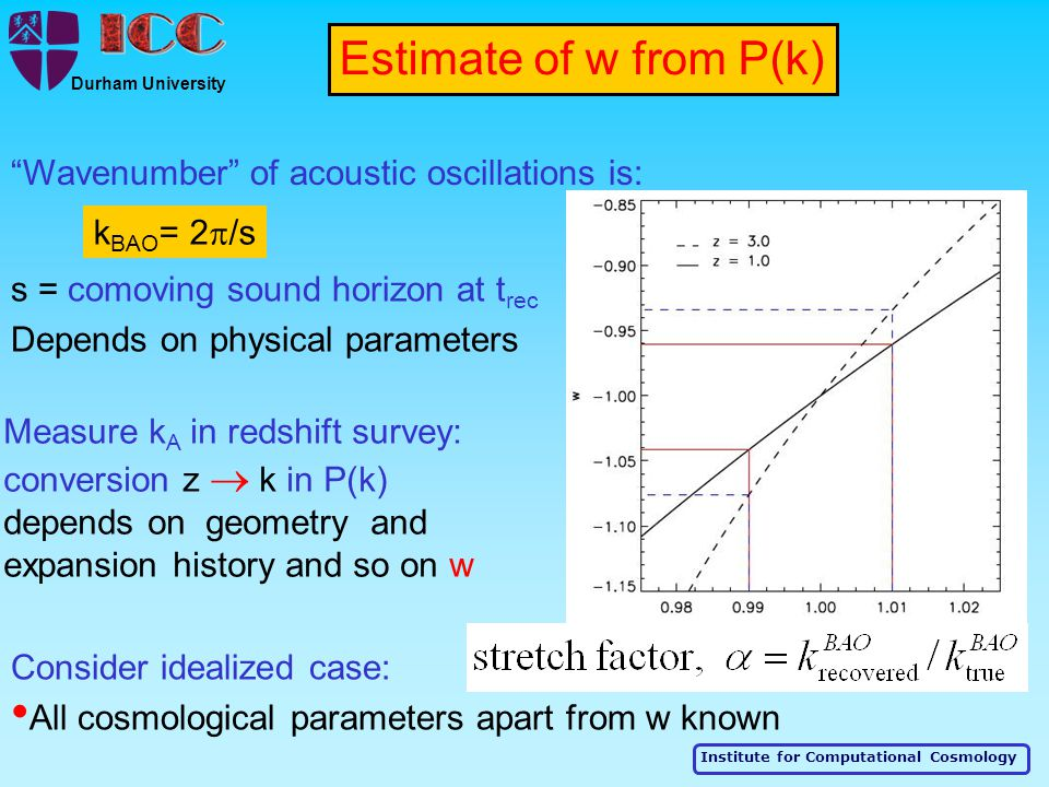 "Institute for Computational Cosmology Durham University s = comoving sound horizon at t rec Depends on physical parameters ""Wavenumber"" of acoustic os"