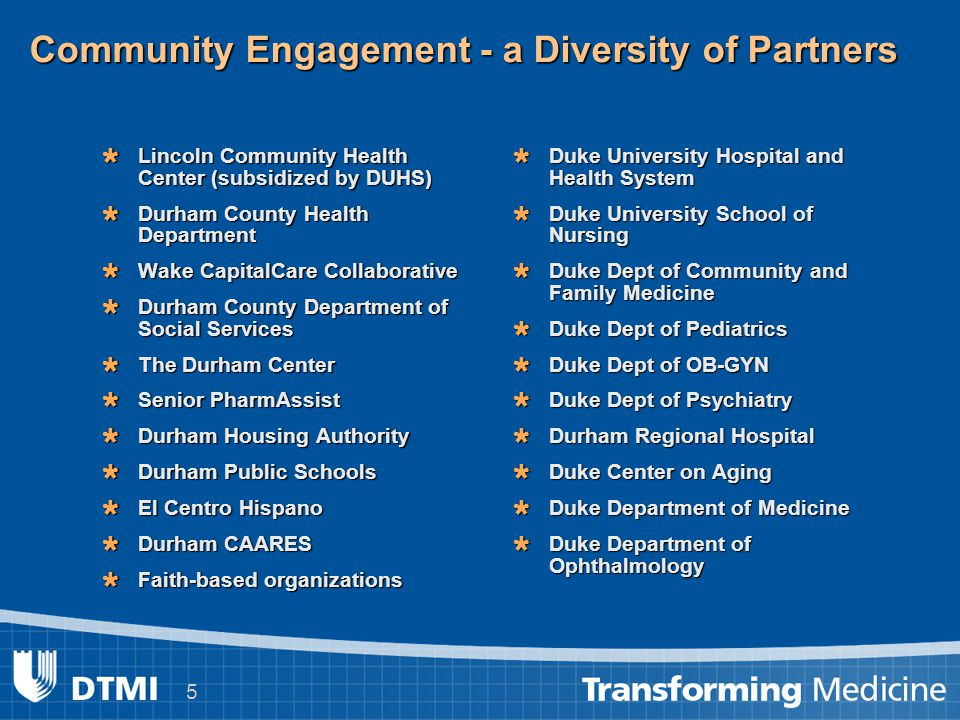 5 Community Engagement - a Diversity of Partners  Lincoln Community Health Center (subsidized by DUHS)  Durham County Health Department  Wake Capit