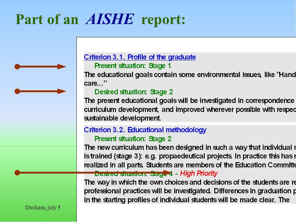 Durham, july 5Everard van Kemenade Part of an AISHE report:
