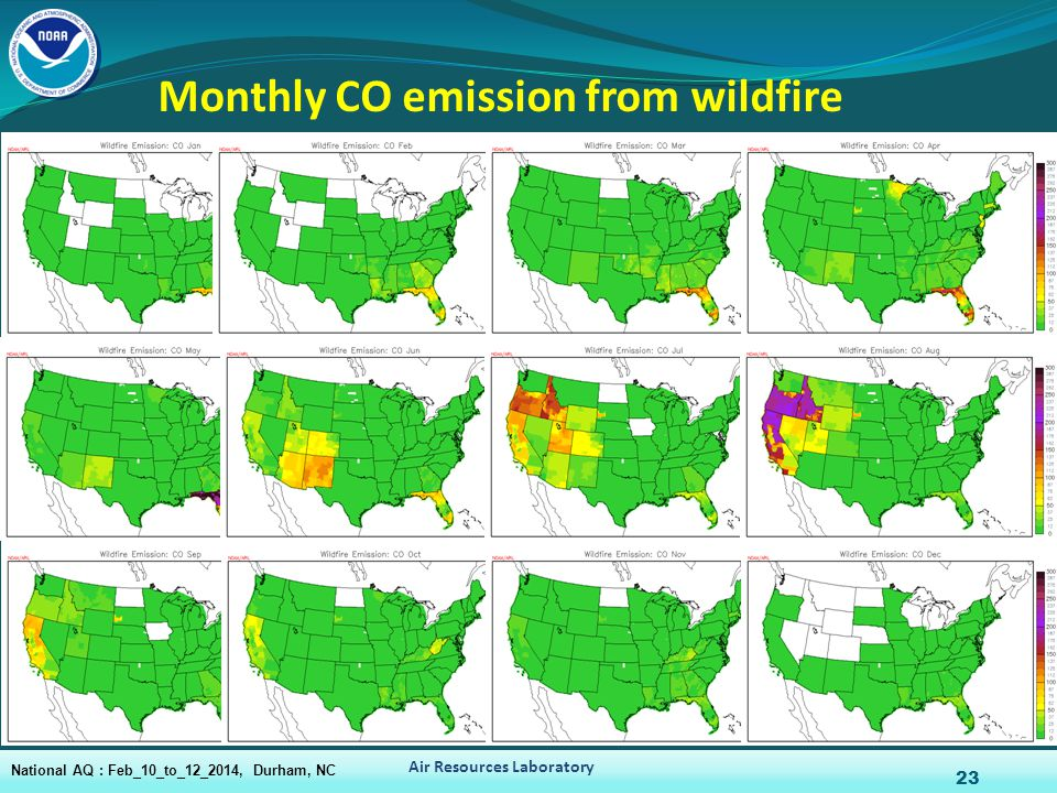 Monthly CO emission from wildfire 23 Air Resources Laboratory National AQ : Feb_10_to_12_2014, Durham, NC
