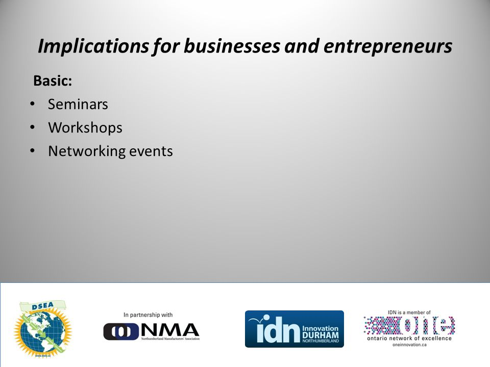 Implications for businesses and entrepreneurs Basic: Seminars Workshops Networking events