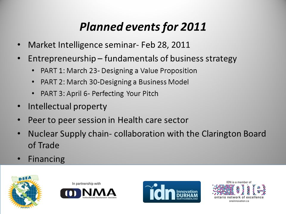 Planned events for 2011 Market Intelligence seminar- Feb 28, 2011 Entrepreneurship – fundamentals of business strategy PART 1: March 23- Designing a V