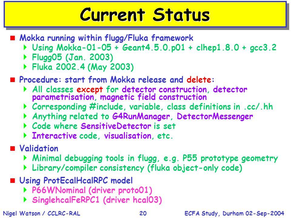 ECFA Study, Durham 02-Sep-2004Nigel Watson / CCLRC-RAL20 Current Status  Mokka running within flugg/Fluka framework  Using Mokka-01-05 + Geant4.5.0.p01 + clhep1.8.0 + gcc3.2  Flugg05 (Jan.