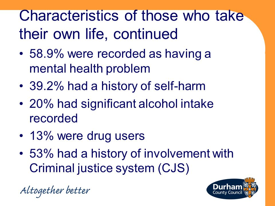 Characteristics of those who take their own life, continued 58.9% were recorded as having a mental health problem 39.2% had a history of self-harm 20% had significant alcohol intake recorded 13% were drug users 53% had a history of involvement with Criminal justice system (CJS)