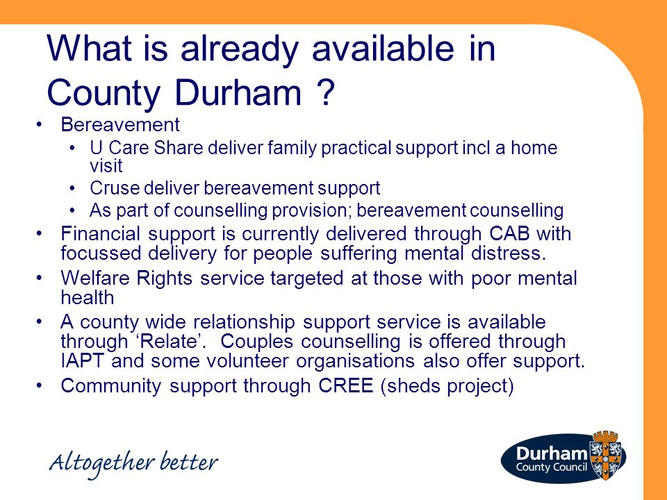 What is already available in County Durham .