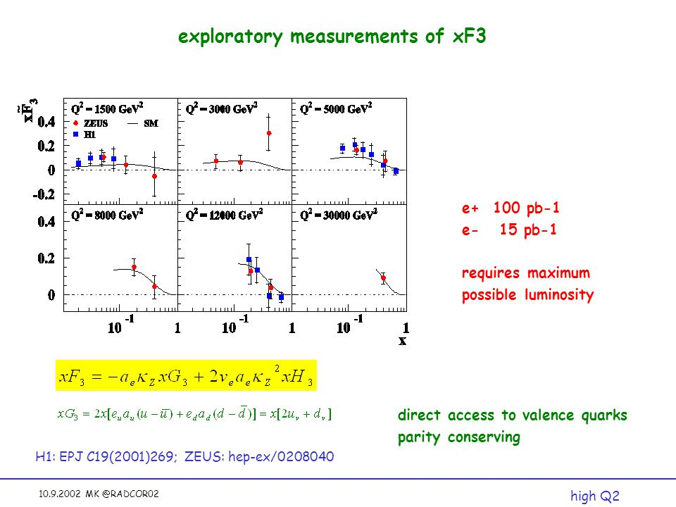 10.9.2002 MK @RADCOR02 exploratory measurements of xF3 H1: EPJ C19(2001)269; ZEUS: hep-ex/0208040 high Q2 direct access to valence quarks parity conse