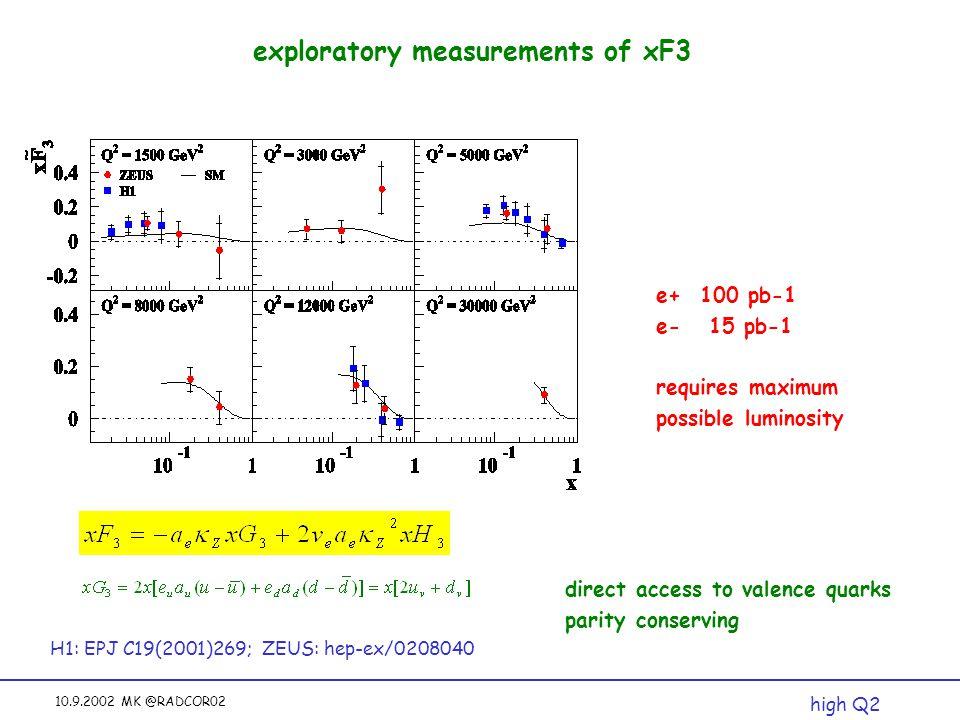 10.9.2002 MK @RADCOR02 exploratory measurements of xF3 H1: EPJ C19(2001)269; ZEUS: hep-ex/0208040 high Q2 direct access to valence quarks parity conserving e+ 100 pb-1 e- 15 pb-1 requires maximum possible luminosity