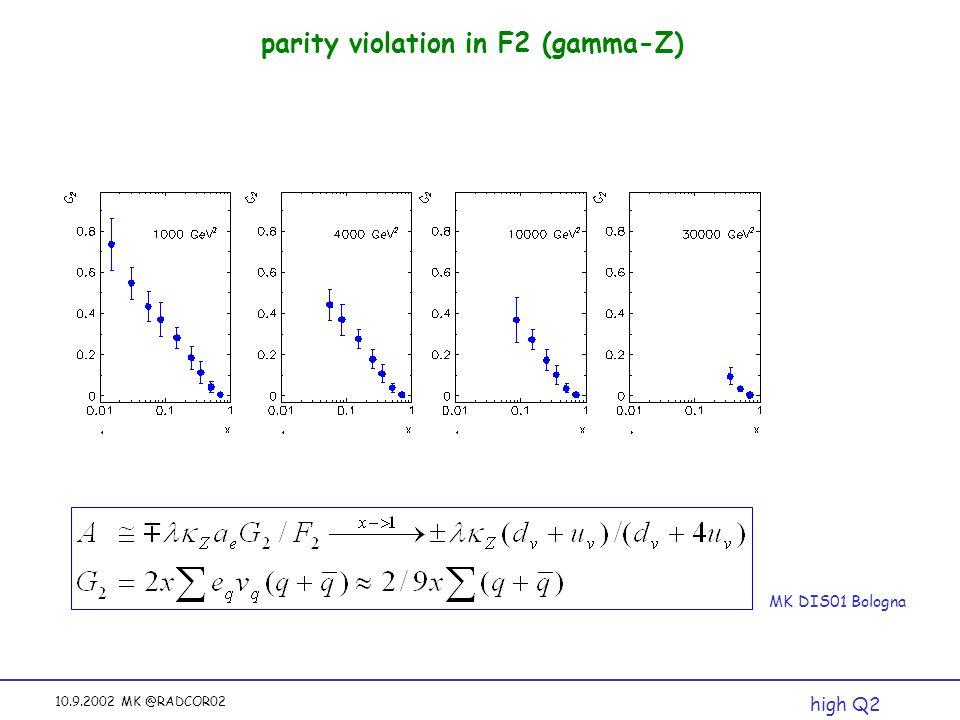 10.9.2002 MK @RADCOR02 parity violation in F2 (gamma-Z) MK DIS01 Bologna high Q2