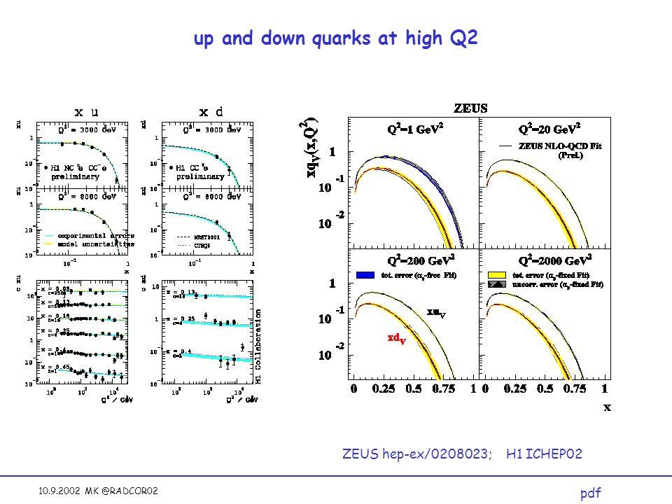 10.9.2002 MK @RADCOR02 up and down quarks at high Q2 ZEUS hep-ex/0208023; H1 ICHEP02 pdf