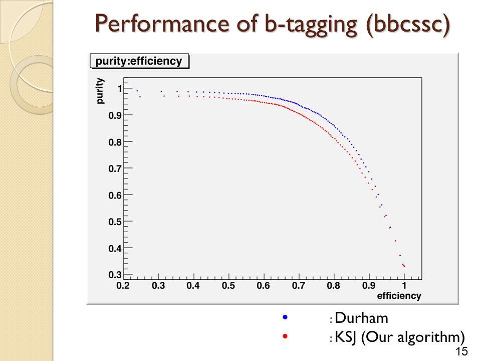 15 Performance of b-tagging (bbcssc)  : Durham  : KSJ (Our algorithm)