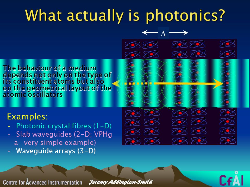Conclusions To understand the origins of the cosmos and of ourselves astronomers needs new technologyTo understand the origins of the cosmos and of ourselves astronomers needs new technology Exploitation of photonic principles and devices already developed will help us do thisExploitation of photonic principles and devices already developed will help us do this Without it, instrumentation for the next generation of telescopes may run into major problemsWithout it, instrumentation for the next generation of telescopes may run into major problems Find out more!Find out more!