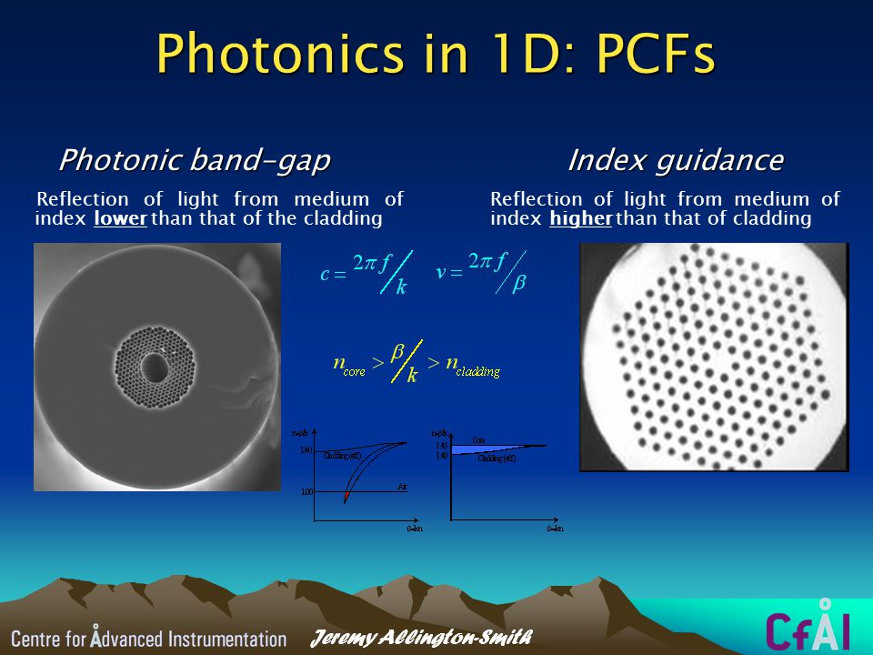 Jeremy Allington-Smith Applications PCF capabilities Long-baseline interferometry OH suppression Highly-multiplexed spectroscopy Miniaturisation for ELTs
