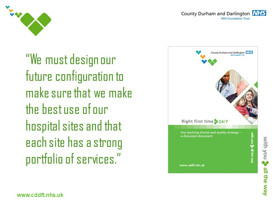 www.cddft.nhs.uk We must design our future configuration to make sure that we make the best use of our hospital sites and that each site has a strong portfolio of services.