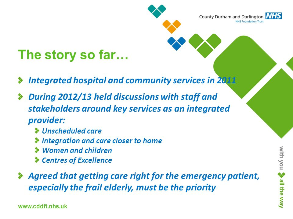 www.cddft.nhs.uk The story so far… Integrated hospital and community services in 2011 During 2012/13 held discussions with staff and stakeholders around key services as an integrated provider: Unscheduled care Integration and care closer to home Women and children Centres of Excellence Agreed that getting care right for the emergency patient, especially the frail elderly, must be the priority