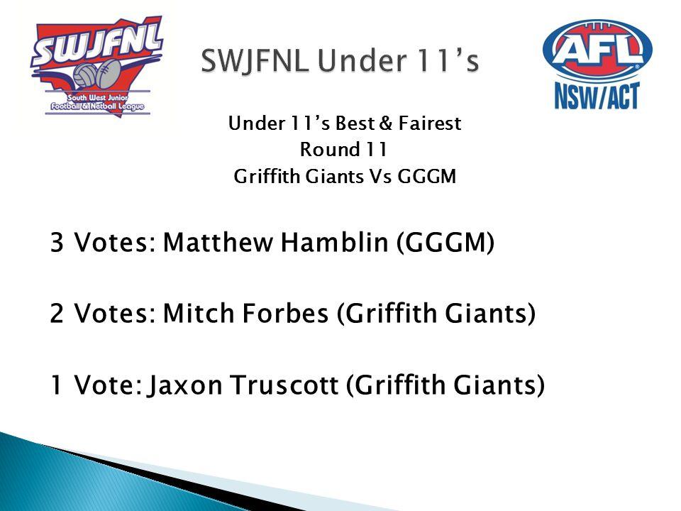 Under 11's Best & Fairest Round 11 Griffith Giants Vs GGGM 3 Votes: Matthew Hamblin (GGGM) 2 Votes: Mitch Forbes (Griffith Giants) 1 Vote: Jaxon Trusc