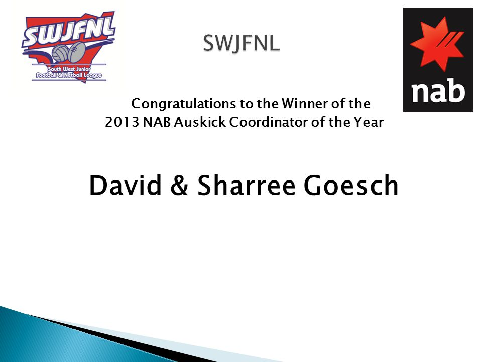 Congratulations to the Winner of the 2013 NAB Auskick Coordinator of the Year David & Sharree Goesch