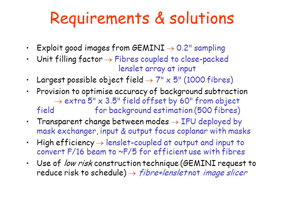 Requirements & solutions Exploit good images from GEMINI  0.2