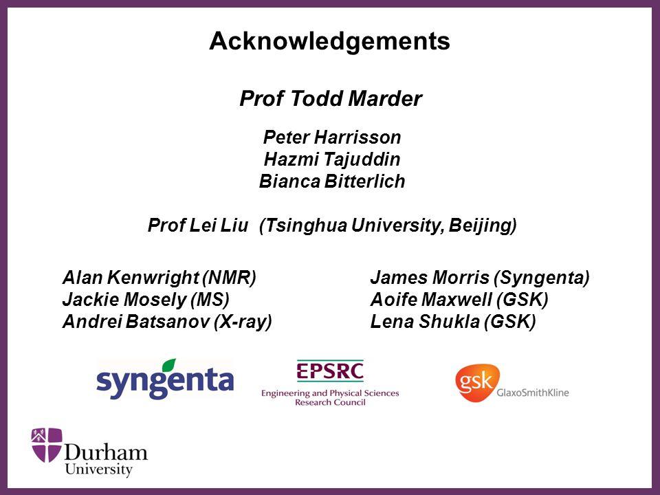 ∂ Acknowledgements Peter Harrisson Hazmi Tajuddin Bianca Bitterlich Prof Lei Liu (Tsinghua University, Beijing) Prof Todd Marder James Morris (Syngent