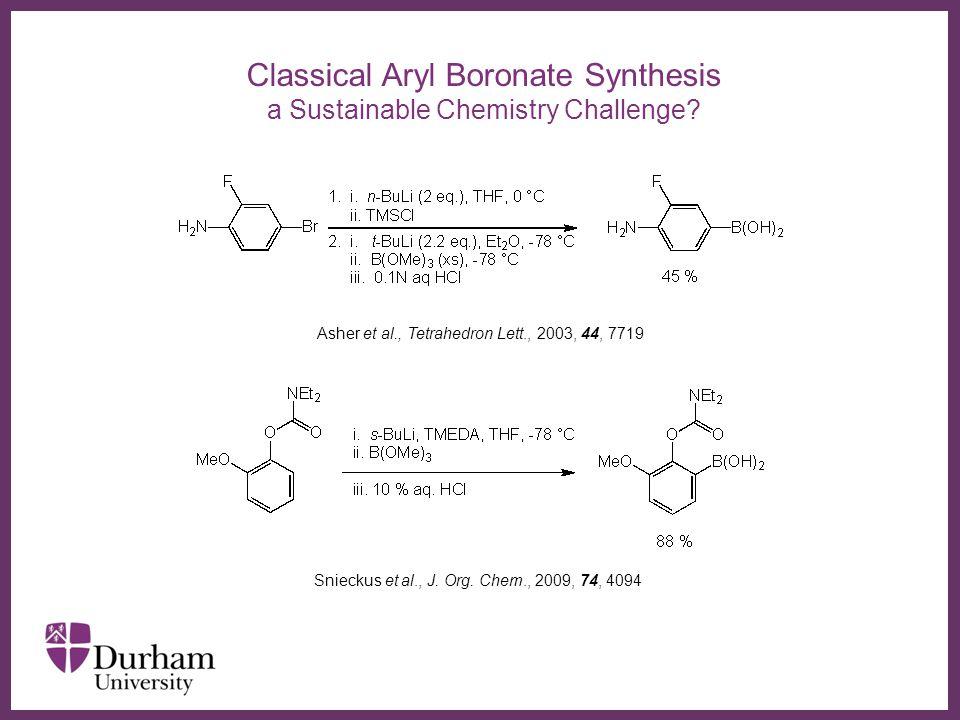 ∂ Functional Group Tolerant Aryl Boronate Synthesis Ishiyama, Miyaura et al., J.
