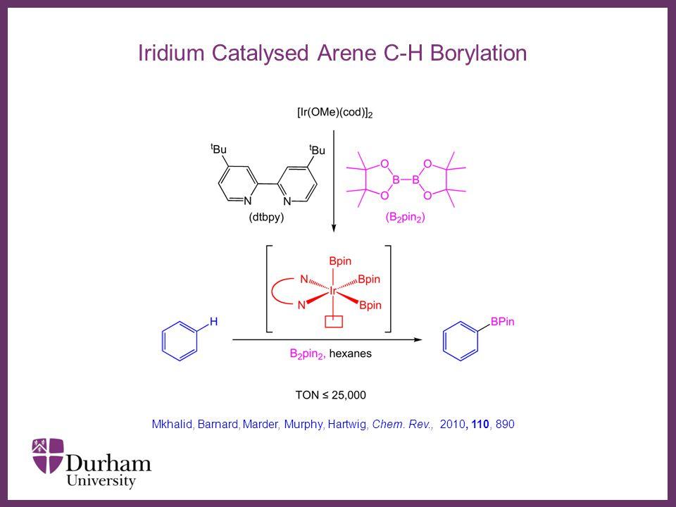 ∂ Iridium Catalysed Arene C-H Borylation Mkhalid, Barnard, Marder, Murphy, Hartwig, Chem. Rev., 2010, 110, 890