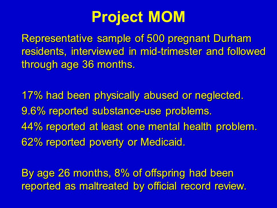 Project MOM Representative sample of 500 pregnant Durham residents, interviewed in mid-trimester and followed through age 36 months. Representative sa
