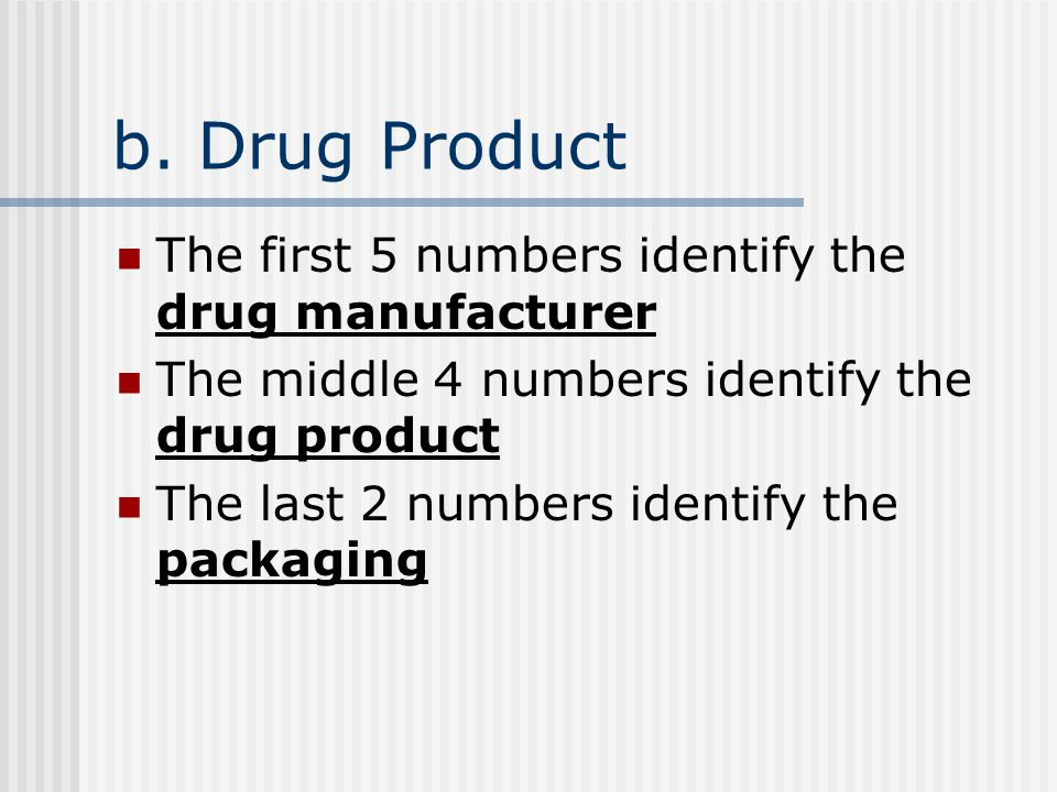 6. What do the middle four numbers represent in an NDC number.